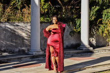 Load image into Gallery viewer, Be Mine | Maroon Stretch Satin Dress