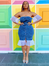 Load image into Gallery viewer, Pleat Me Baby- | Denim and Ruffled Organza Dress