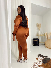 Bossiana | Brown Satin Stretch Set