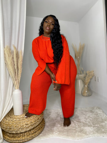 Take it Easy | Orange 2pc Sweater Set