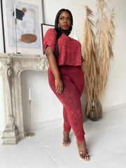Cozy and Cute | Cropped Tropical Red Acid wash set