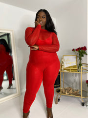 All the Glitz | Diamonte Red Bodysuit W/ Detachable Jumpsuit- Restock Ships 2/3