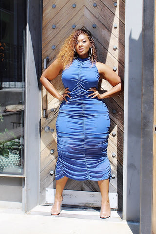 Bawdy Baby | Indigo Blue Ruched Dress