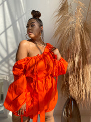 High Fashion | Orange Puff Sleeve Dress