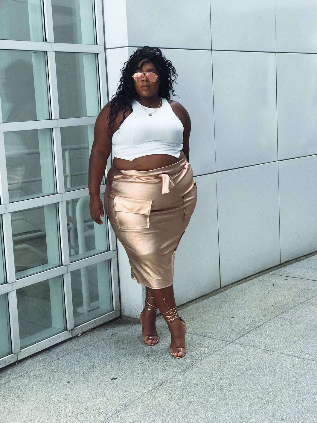 Rozay Allday | Rosegold vegan leather cargo skirt