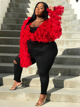 Load image into Gallery viewer, So Shag | Red Knit Fringe Cardi