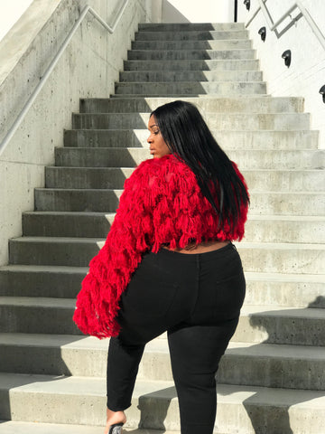 So Shag | Red Knit Fringe Cardi