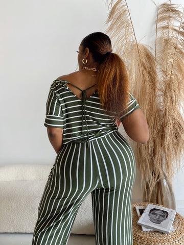 Stripe me Down | Green & White Striped Jumpsuit Restock Ships 7/14/20