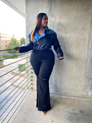 Snatched | Black High-waist Flare Jeans