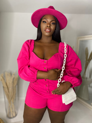 Let's Play  | Pink Puff Sleeve Stretch Romper