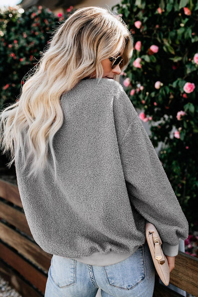 Fashion Gray Terry Thread Cashmere Sweatshirt