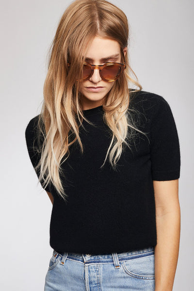 Cashmere Short Sleeve Sweater Black