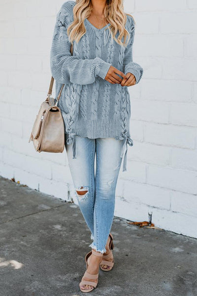 Sky Blue Love Letters Lace Up Cable Knit Sweater