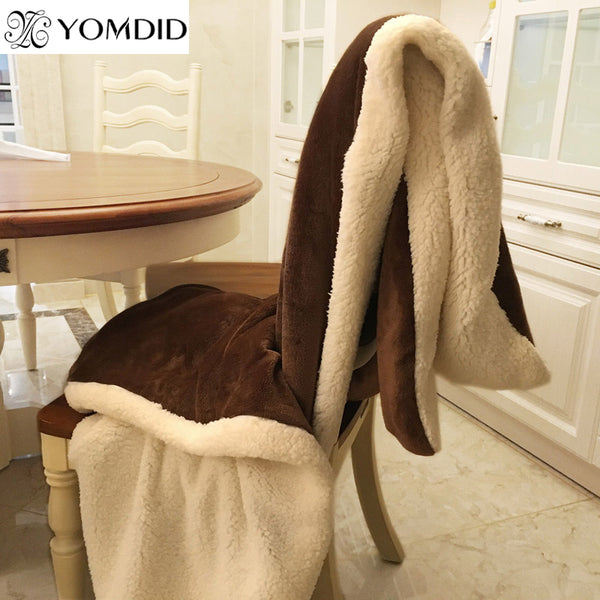 YOMDID Winter Wool Blanket Ferret Cashmere Blanket Warm Blankets Fleece Super Warm Soft Throw On Sofa Bed Cover Square Cobija