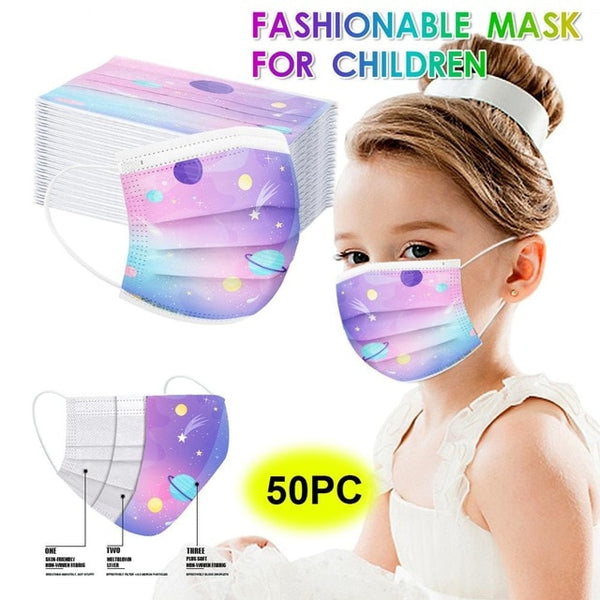 10 50pcs Child Kids Disposable Face Masks 3 Layer Anti dust Masks Fabric Meltblown Cartoon Planet Mask Halloween Cosplay Masque|Boys Costume Accessories|