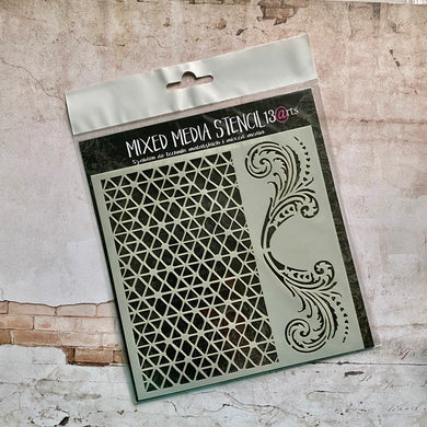 Grid and Swirls Stencil [Kit of the Month]