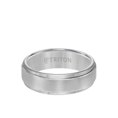 7MM Tungsten Carbide Ring - Brushed Finish and Step Edge
