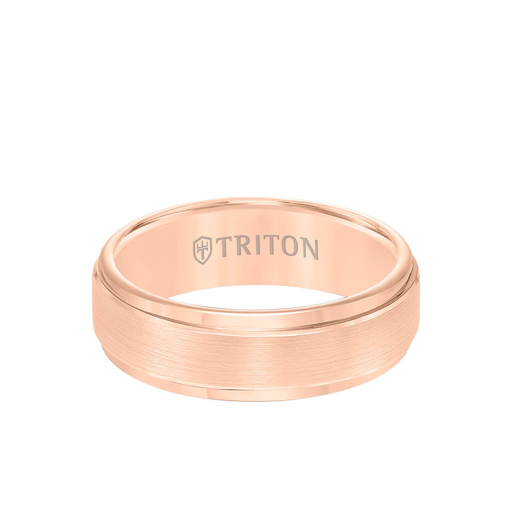 7MM Tungsten Carbide Ring - Brushed Finish and Step Edge - Triton ...