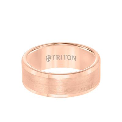 8MM Tungsten Carbide Ring - Satin Finish Flat Center and Round Edge