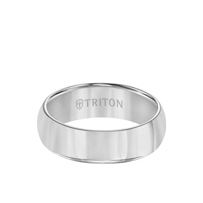 7MM Tungsten Carbide Ring - Bright Finish Domed Center and Round Edge