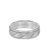 7MM Tungsten Carbide Ring - Diagonal Cut Center and Round Edge