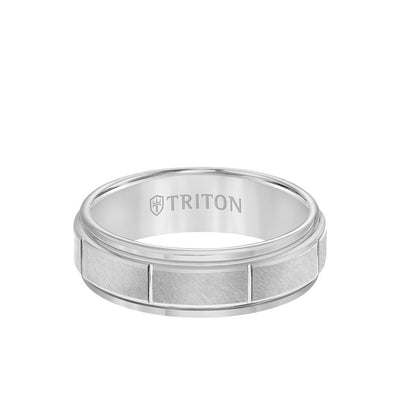 7MM Tungsten Carbide Ring - Vertical Cut Center and Step Edge