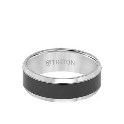 8MM Black Ceramic Inlay Ring with Tungsten Bevel Edge