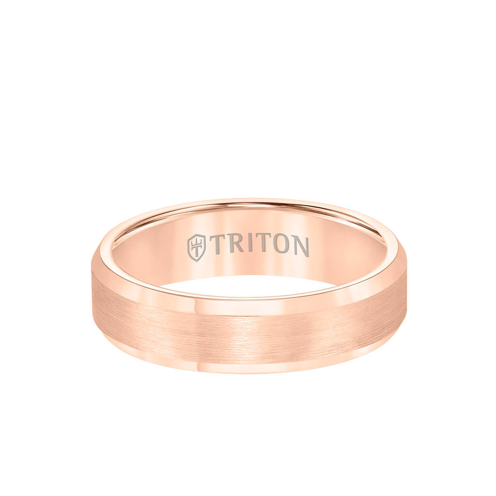 6MM Tungsten Carbide Ring - Satin Center and Bevel Edge - Triton Jewelry