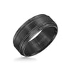 9MM Tungsten Carbide Ring - Bright Cut Parrelel Lines Satin Center and Step Edge