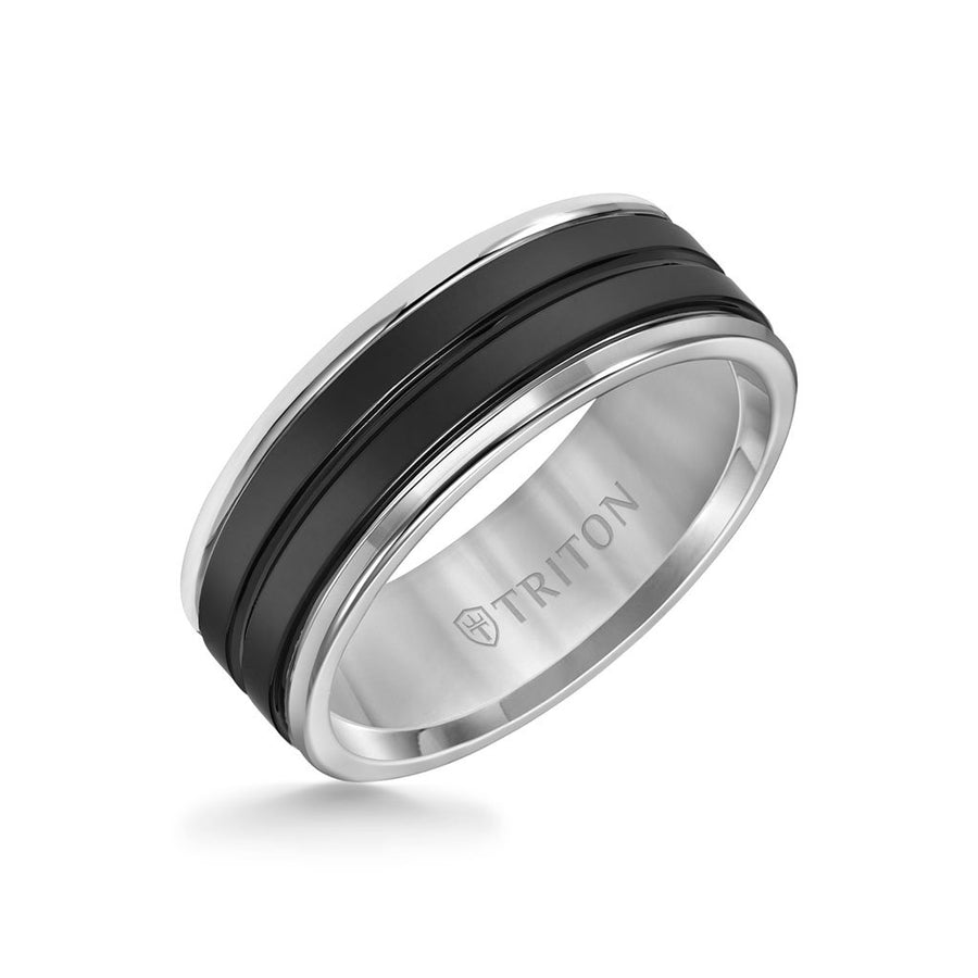 8MM Black Ceramic Ring with Tungsten Round Edge