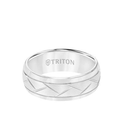 8MM Tungsten Carbide Ring - Domed Alternating Diagonal Cuts and Bevel Edge