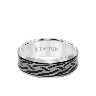 8MM Tungsten Carbide Ring - Laser Cut Center and Bevel Edge
