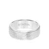 8MM Tungsten Carbide Ring - Hammered Center and Step Edge