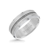 8MM Tungsten Carbide Ring - Steel Cable Center and Bevel Edge