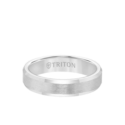 5MM Tungsten Carbide Ring - Brush Finish and Bevel Edge