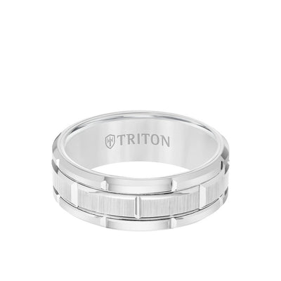 8MM Tungsten Carbide Ring - Brick Pattern Center and Flat Edge