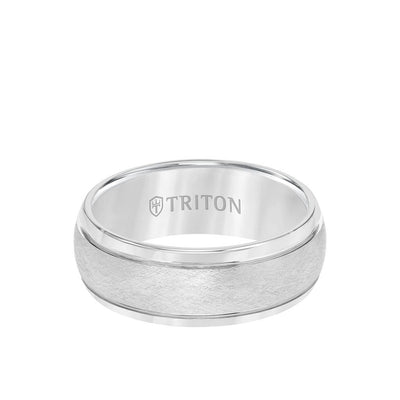 8MM Tungsten Carbide Ring - Domed Wire Brush Center and Flat Edge