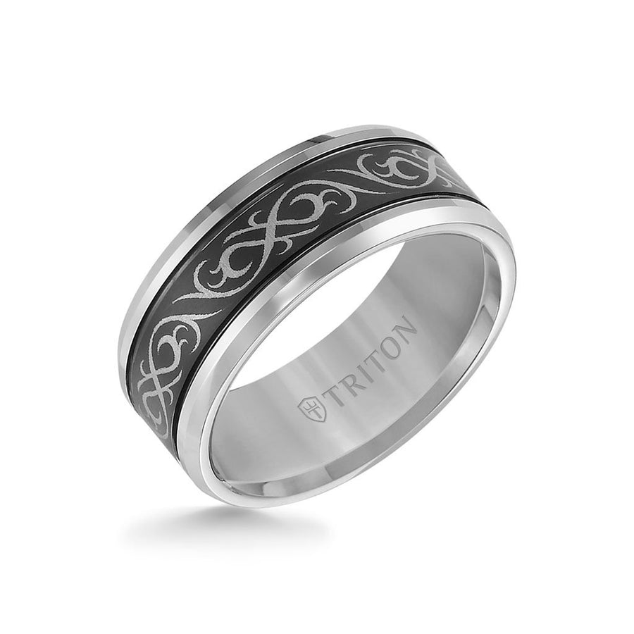 9MM Tungsten Carbide Ring - Laser Cut Center and Round Edge
