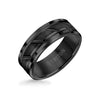 8MM Tungsten Carbide Ring - Diagonal Cut Center and Step Edge