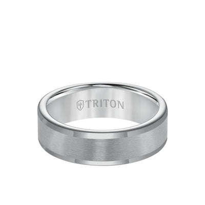 7MM Tungsten Carbide Ring - Satin Center and Round Edge