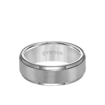 8MM Tungsten Carbide Ring - Satin Center and Step Edge
