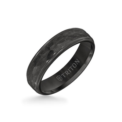 6MM Tungsten Carbide Ring - Hammered Center and Step Edge