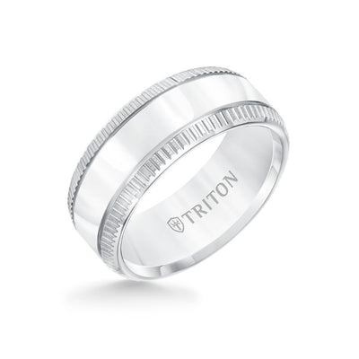 9MM Tungsten Carbide Ring - Flat Bright Center and Coin Edge
