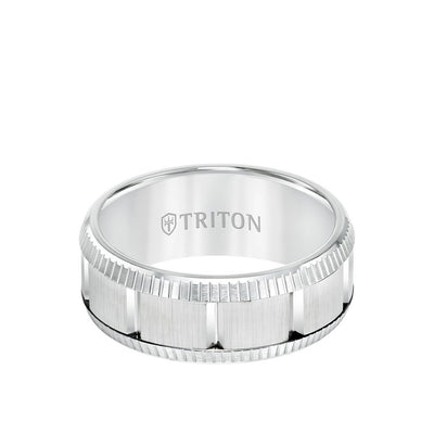 9MM Tungsten Carbide Ring - Vertical Cut Center and Coin Edge