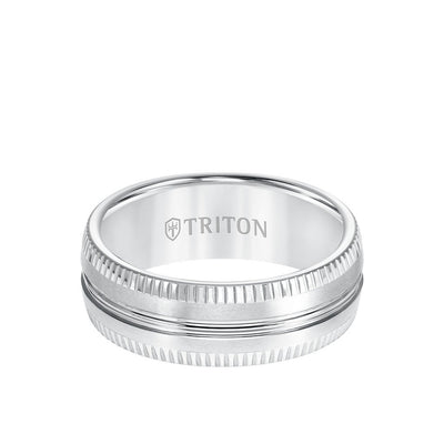 8MM Tungsten Carbide Ring - Horizontal Center Lines and Coin Edge