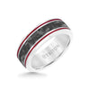 8MM Tungsten & Black Carbon Fiber Ring with Stripe and Bevel Edge