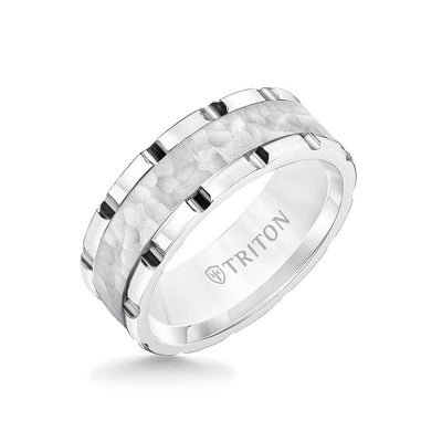 8MM Tungsten Carbide Ring - Hammered Center and Link Edge