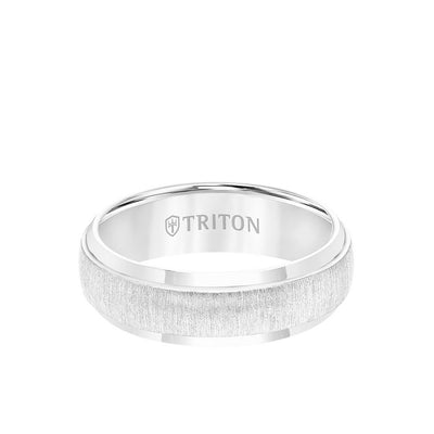 7MM Tungsten Carbide Ring - Brushed Vertical Center and Round Edge