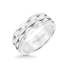 8MM Tungsten Carbide Ring - Brushed Link Center and Bevel Edge