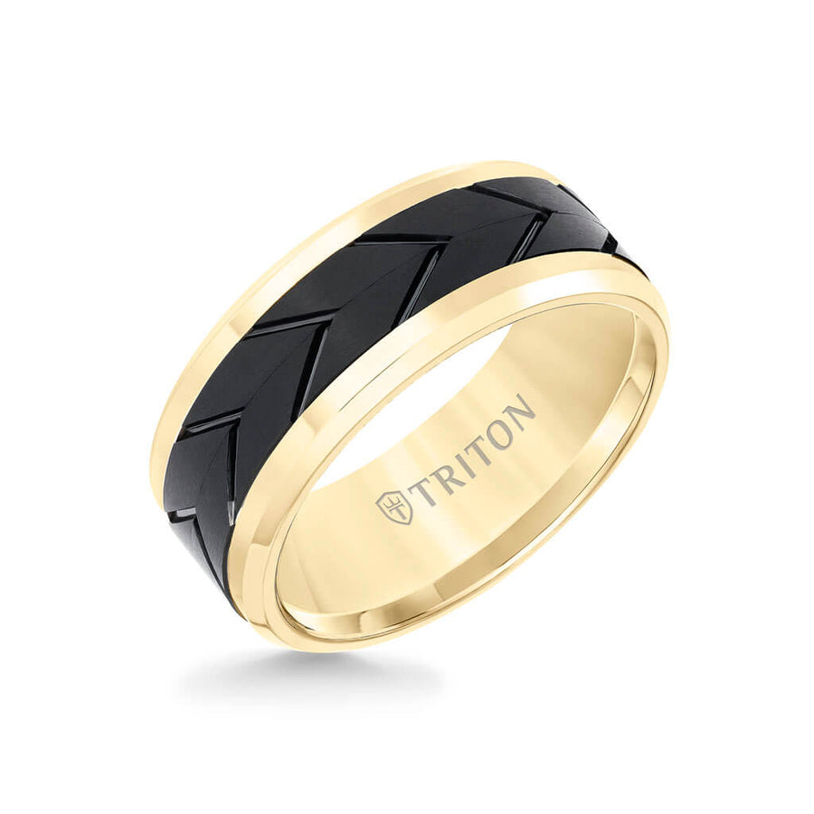 9MM Tungsten Carbide Ring - Black Tire Tread Center and Bevel Edge